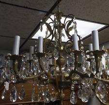 Old Twelve Light Spanish Brass Old Chandelier With Prisms