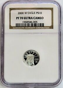 2000 W PLATINUM $10 PROOF EAGLE STATUE OF LIBERTY 1/10 OZ COIN NGC PF 70 UC