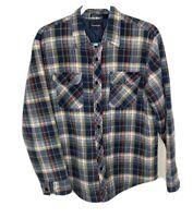 Mens L Flannel Jacket Shirt VTG Quilted Surf Plaid Lumberjack Trucker Pockets LS