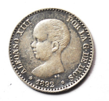 1892 92 PG-M Spain 50 Centimos Silver Coin Fifty KM# 690