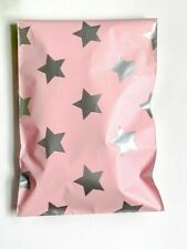 100 Silver Stars Pink Designer 6 X 9 Mailer Poly Bags Mailing Shipping Bags