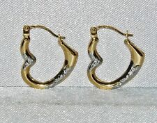9CT YELLOW & WHITE GOLD LADIES HEART SHAPED FANCY CREOLE HOOP EARRINGS