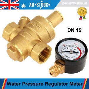 DN15 20mm Adjustable Brass Water Pressure Regulator Reducer With Gauge Meter AU