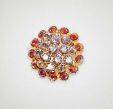 """Lovely Vintage Red Aurora Borealis Rhinestone Gold Tone Floral Pin Brooch 1.5"""""""
