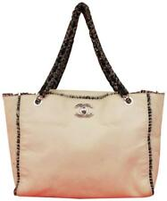 Chanel Tweed Chain Tote  Ivory X Black Leather Shoulder Bag 223685