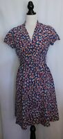 PRINCESS HIGHWAY ~ 40's Look Cerulean Blue Red Orange Floral Day Dress 10