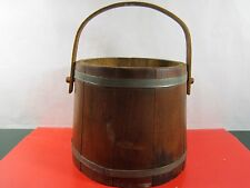 Vintage Wooden Firkin Sugar, Bucket with Metal Bands and Wooden Handle