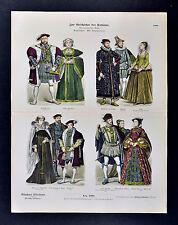 1880 Braun Costume Print 16th c English Dress Henry VIII Queen Mary of Scotland