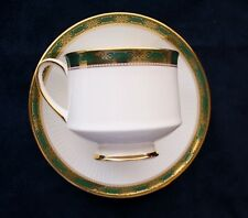 Paragon by Appointment Bone China, Cup and Saucer, Elgin, Green Gold Border