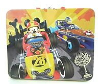 Disney 3D Mickey Mouse & Donald Duck Car Racers Tin Can Lunch Box with Handle