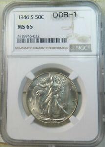 1946 S walking Liberty half dollar NGC MS65 *DDR-001* BR