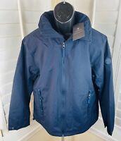 $148 Timberland Navy Blue Fleece-Lined Waterproof Jacket w/Hood, Men's Large New