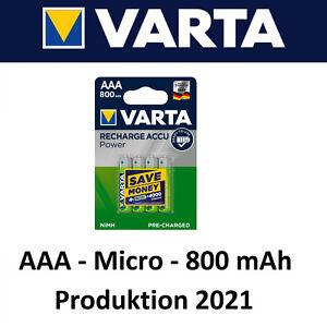4x Varta Akku AAA 800 mAh Micro Akku Batterien für z.b Telefon Spielzeug Pro2021