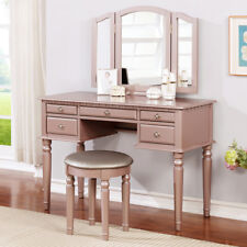 Tri Folding Mirror Vanity Set Makeup Table Dresser w/ Bench 5 Drawer Rose Gold