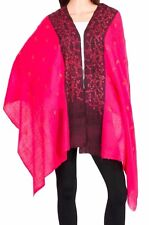 100% Cashmere Scarf Pure Pashmina Pink Hand Embroidered: The Spanish Evening