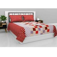 Indian Microfiber Queen Size Double Bedsheet with 2 Pillow Covers -Gradient Grid