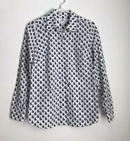 Vineyard Vines Womens Size 0 Shirt Sailboat Print on White Button Up Long Sleeve