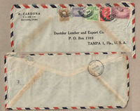 1951 R CARDONA HAVANA QUBA ADVERTISING COVER - 5 DIFFERENT STAMPS GR8 COVER !!