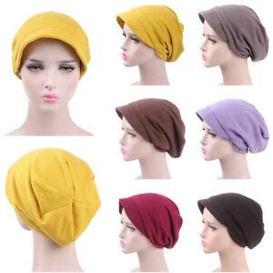 Women Solid Muslim Hats Cancer Soft Turban Cap Hair Loss Head Wraps Wholesale