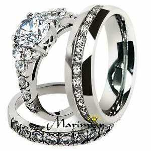 His & Hers Stainless Steel Engagement Bridal Set & Men's Eternity Wedding Band