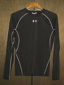 UNDER ARMOUR BLACK COMPRESSION HEATGEAR LONG SLEEVE T-SHIRT TOP MEN'S SIZE LARGE