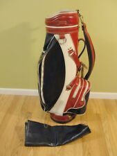"Vtg Miller Pro Staff Cart Carry Golf Bag Red White Blue Usa Patriotic 9"" w/Cover"