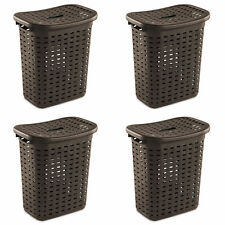 Sterilite Plastic Wicker Weave Dirty Clothes Laundry Hamper Bin and Lid (4 Pack)