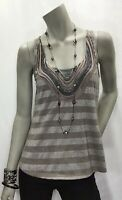 One September Anthropologie Small Excavated Layers Beaded Lace Tank Top Shirt