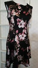 Luxology Dsbn Womens Sz PM Fit n Flare Black Pink Floral Knee Length Dress NWT