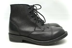 NWOB Mens Hobnail Ammo Boots 11 EE Black Pebble Grain Leather Cap Toe Biker