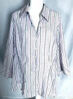 Cato Women's 26W 28W Blouse Striped 3/4 Sleeves Button Down Multicolored V Neck