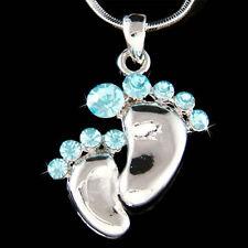 w Swarovski Crystal Aqua Mother Baby Feet ~Footprint Motherhood Pendant Necklace