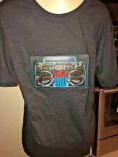 Sound Activated Electronic Light Up Radio Graphic Equalizer T-Shirt Large b14