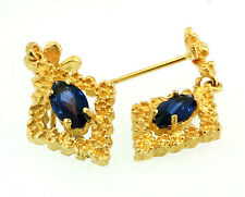 14ct Yellow Gold Marquise Simulated Sapphire Drop Earrings (12x27mm inc drop)