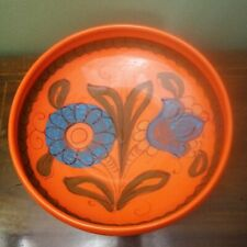 Vintage 1960s, 70's Italian Pottery Centre or Fruit Bowl Orange Retro *Hairline*