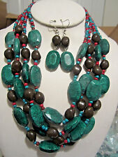 Four Layers Teal And Brown Lucite Bead Necklace Earring Set