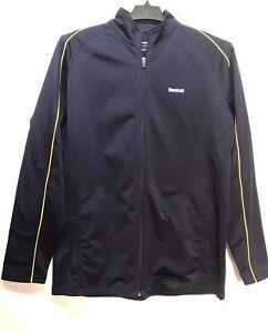 Reebok Men's Niro Style Long Sleeve Jacket Size Large  Full Zip Navy/Yellow Trim