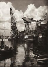 1924 Vintage GERMANY Kiel Crane Ships Port Nautical Sea Photo Art By HIELSCHER