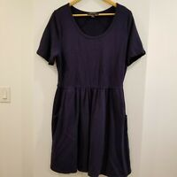 FOREVER 21 PLUS SIZE WOMEN'S SCOOP NECK SHORT SLEEVE BLUE KNIT DRESS SIZE 2X