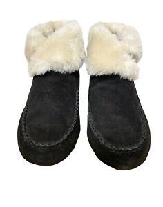 NEW Minnetonka Women's 10 Shearling Fur Lined Black Suede Bootie Slippers Shoes