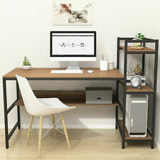 More details for wooden gaming computer desk with adjustable storage shelves writing study table
