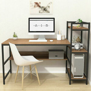 Wooden Gaming Computer Desk with Adjustable Storage Shelves Writing Study Table