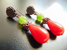 Ohrringe Ohrhänger rot bronze ,Edel grüne Achat mit Perle, von Cátia Levy