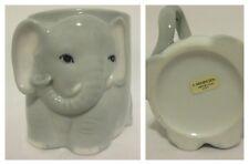 Vintage Henriksen Japan Ceramic Gray Baby Elephant 3D Coffee Cocoa Cup Mug LUCK