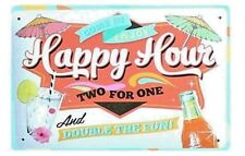 VINTAGE TIN SIGNS - HAPPY HOUR - TWO FOR ONE - AUSSIE SELLER - FAST FREE POST