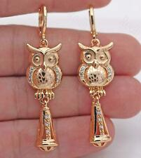 "18K Gold Filled 2.1"" Earring Laser Carving Heart Lovely Owl Trumpet Eardrop BR"