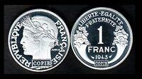 ★★ JOLIE COPIE DE L'INTROUVABLE 1 FRANC 1943 GRAZIANI ALUMINIUM ★★ NEUVE FDC