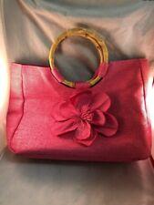 Neiman Marcus Private Label Medium  Pink Handbag Purse Flower Bamboo Handle