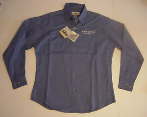 New Women Chrysler Long Sleeve Shirt Collar Cotton Blue White Small Tri-Mountain