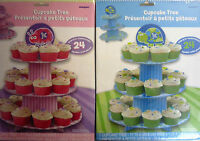 Pink or Blue Happy 1st Birthday Cupcake Tree (38 x 30 cm - Holds up to 24 cakes)